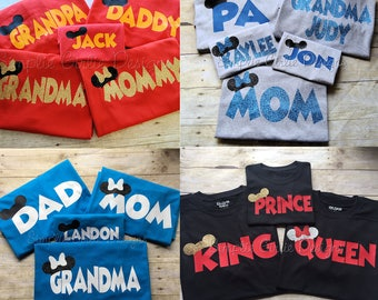 Custom vacation t-shirts. Disney vacation shirts. Personalized vacation shirts. Matching family vacation shirts.