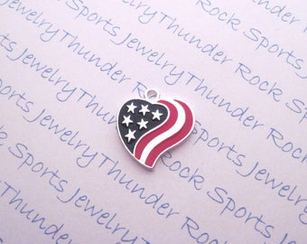 AMERICAN FLAG CHARM, Antique Silver, heart, Pendant, Stars, Stripes, 4th of July, military, veteran, Veteran's, Memorial Day, patriotic