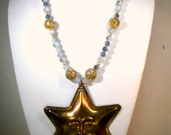 Judaica, Jewish Star Necklace with Beautiful Blue Starshine Beads, OOAK by Rachelle Starr 2016, Recycled Ecochic