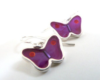 Butterfly earrings,sterling silver,resin inlay,purple,mixed media,hand made