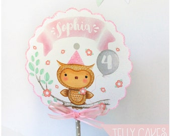 Owl Cake Topper,Woodland Cake Topper,Baby's 1st, Birthday Cake Topper,Girl's Birthday,Owl Lover,Baby SHower Cake Topper,Owl Party,Owl