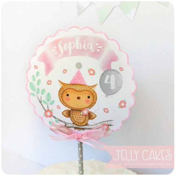 Owl Cake TopperWoodland Cake TopperBabys 1st Birthday