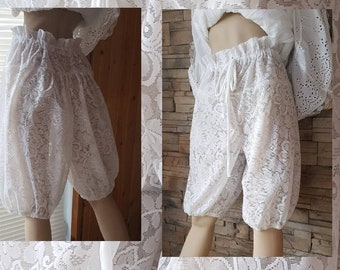 White  lace bloomers/ Victorian undergarment/lacey pantaloons/steampunk bloomers/pirate nloomers/
