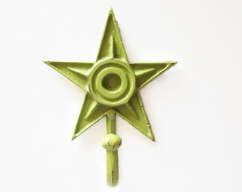 Cast Iron Key Hook in Distressed Green. Rustic Farmhouse Towel Hanger. Bathroom Fixture. Cast Iron Leash Hook. Childrens Coat Hook