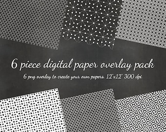 80% OFF SALE Digital Scrapbook  Mid Century Modern - 6 DIY Pattern Overlays Digital Scrapbook Overlay Paper - Pattern diy Paper png Overlay