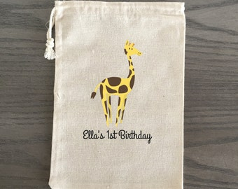 10 Birthday Treat Bags, Birthday Favor Bags, Candy Bags, Birthday Goodie Bags, Children's Birthday Custom - Giraffe Birthday