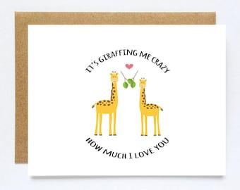 Love Pun Card, Giraffe Love Card, Card for Boyfriend, Funny Anniversary Card, Giraffe Anniversary Card, I Love you Card, Cute Love Card
