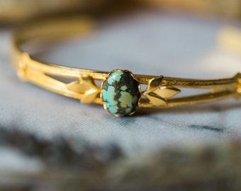 Athena Bracelet - Gold Tone Delicate Turquoise Bracelet with Olive Leaves - Wild Heart Collection, Yugen, Greek Mythology, Boho Jewelry