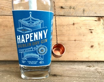 Ha'Penny Dublin Dry Gin Ireland Recycled Bottle Table Top Tiki Torch