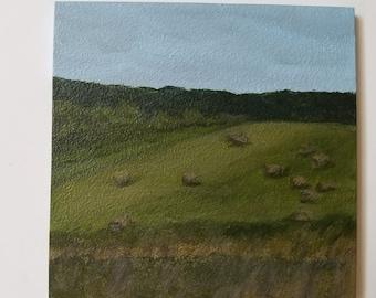 Hay Bales in Veteran - Acrylic painting - Original art - New York - NY