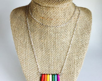 Spike Bead Necklace - Multicolor Rainbow - Makes a Great Gift!