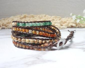 5 Wrap Bracelet Beaded Wrap Leather Wrap Gemstone Beaded Strand Bracelet 685