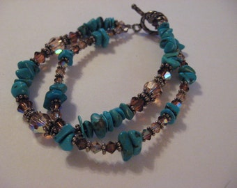 Turquoise Nuggets and Glass Beaded Bracelet