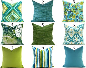 Outdoor Pillows Outdoor Pillow Covers Decorative Pillows ANY SIZE Pillow Cover Blue Pillow Green Pillows You Choose