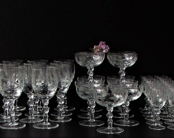 Set of 34 Vintage Cut Crystal Wine Cocktail Glasses Crystal Stemware - Mid Century Barware - Crosshatch and Fan Cut Crystal Collection -