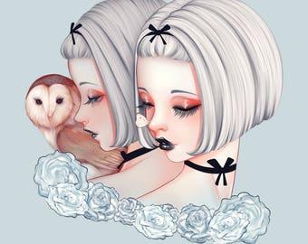 "Art Print ""Leucothea"" - White Roses, Creepy Cute, Pastel Art, Wall Art, Pastel Goth, Kawaii, Owl, Weird, Quirky Art"
