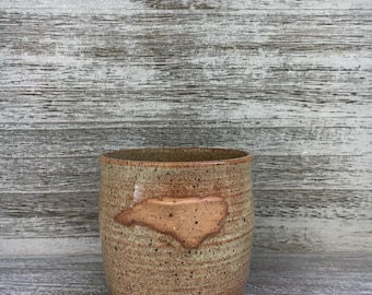 Pottery mug, NC mug, sand mug, North Carolina mug, I love NC mug, creamy coffee mug, coffee mug, handmade pottery mug made in North Carolina