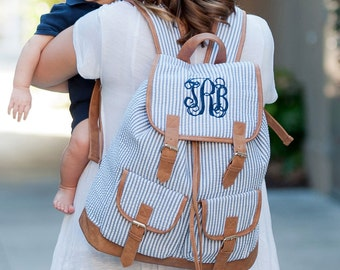 Baby Blue Seersucker Backpack, Diaper bag and Purse ( monogram available)