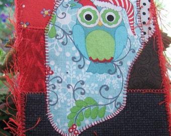 Owl Fabric Postcard, Christmas Card, Owl Fiber Art, Quilt Postcard, Unique Gift Idea, Friend Gift