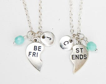Best Friends Necklace, Set of 2, BFF Heart Necklaces, Initial Jewelry, Personalized Best Friend Gift, Gift, Alphabet Charm, Puzzle Necklace