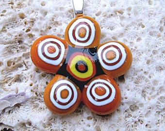 Fused Glass Fall Flower Pendant