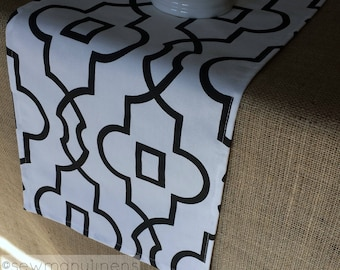 Black and White Table Runner Quatrefoil Lattice Trellis Moroccan Home Dining Room Decor Table Centerpiece Linens
