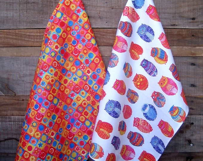 Owls and Flower Check Kitchen Towel set