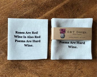 A Poem About Wine,100% Linen Screen Printed Typography Cocktail Napkins,Humour, Hostess Gift