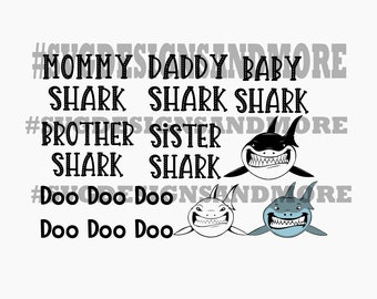 Daddy shark Mommy shark silhouette svg cutting files,Doo Doo Doo song,Daddy shark song svg,cricut file