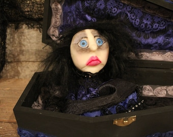 """Handmade OOAK Art Doll, """"The Countess"""", Polymer Clay Doll, Art Doll, Creepy Doll, Dead Doll, Coffin Doll, Wooden Coffin, Collector Doll"""