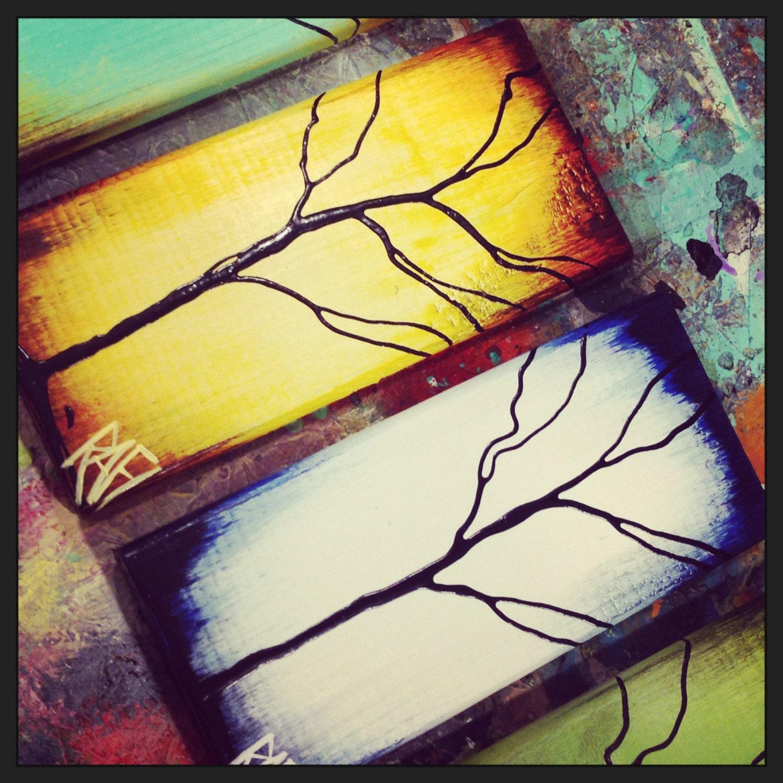 Four Seasons - 4 Piece - Tree Paintings on Reclaimed Wood By Artist ...