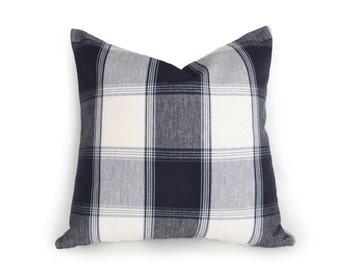 Navy Blue White Plaid Pillows, Blue Decorative Pillow, Blue Plaid Pillow Covers, Blue Plaid Cushion, Lodge Home Decor 18x18 PillowThrowDecor