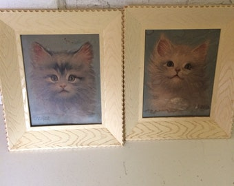 Lot of 2 Antique Cat Pictures in Plastic Frame by Florence Kroger