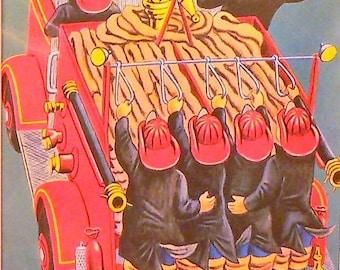 1959 Firemen Matted Vintage Print