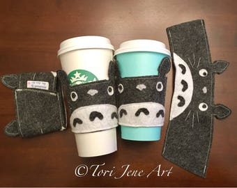 Totoro Cup Cozy - felt, coffee, tea