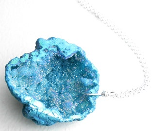 Blue Raw Stone Necklace: Big Druzy Pendant, Bold Geode Jewelry