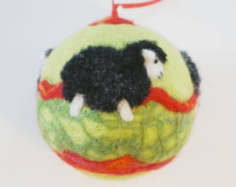 Christmas Ornament - Needle Felted - Black Sheep Ornament - Lamb - Christmas Gift - Red and Green - Felt Ornament - Needlefelt Sheep