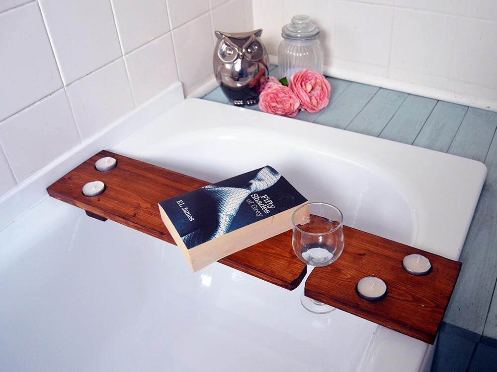 Wooden Bath Shelf Rustic Bath Caddy Bath Drinks Holder Bath