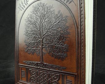 Celtic Tree of Life - Handmade Leather Journal Diary with Hand-Tooled ASH TREE