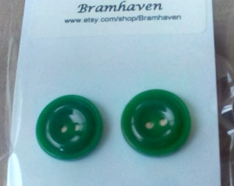 Up cycled 12mm emerald green vintage button stud earrings