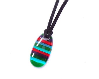 Striped Glass Pendant in Random Colors, Pendant Necklace, Multiple Colors, Handmade Jewelry