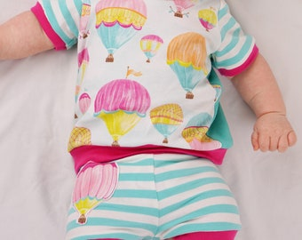 Baby Girl Outfit, Baby Girl Clothes, Newborn Clothing, Infant Girl Clothes, Unique Baby Clothes, Watercolor Hot Air Balloon Top and Shorts,