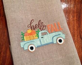 Hello Fall Pumpkin Linen Hand Towel