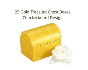 25 Treasure Chest Boxes Gold Favor Boxes Candy Favor Boxes 50th Anniversary Party Favor Boxes Fun Favor Boxes Bulk Gold Favor Box