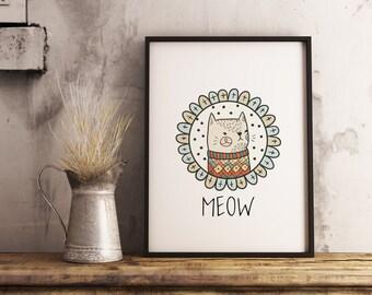 Kitty printable, cute print, nursery art, Instant Digital download, nursery printable, girls room, baby shower gift, baby room, celebration