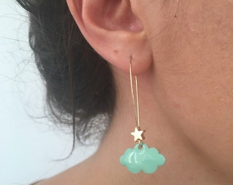Clouds and star earrings - gold and Mint Green
