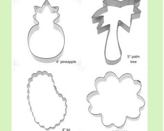 Hawaiian Cookie Cutter, Luau cookie cutter,pineapple, palm tree, lei, hibiscus  cookie cutters, first birthday, shower, You pick set