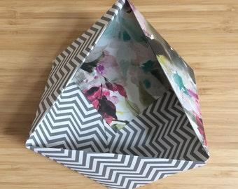 Origami Bowl Ornament || Geometric Floral Small