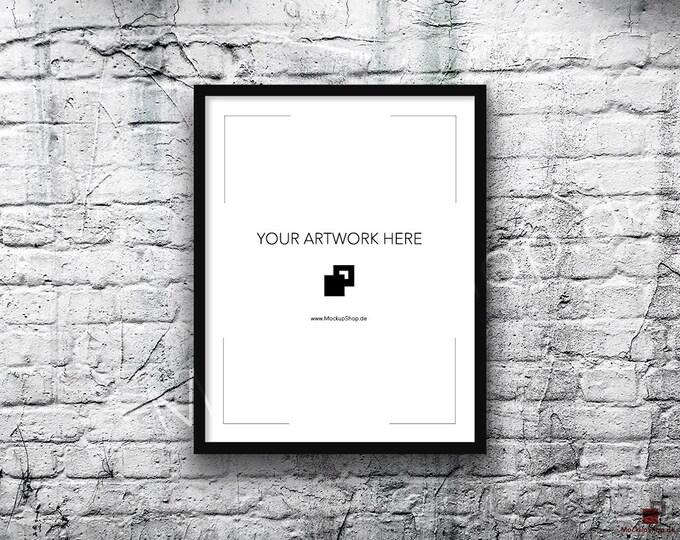 11x14 Vertical Digital BLACK FRAME MOCKUP, Styled Photography Poster Mockup, old White Brick Background, Framed Art, Instant Download Black