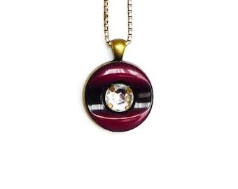 button pendant, button jewelry, rhinestone charm, bronze burgundy black pendant, button art, romantic jewellery, upcycle jewelry, women gift